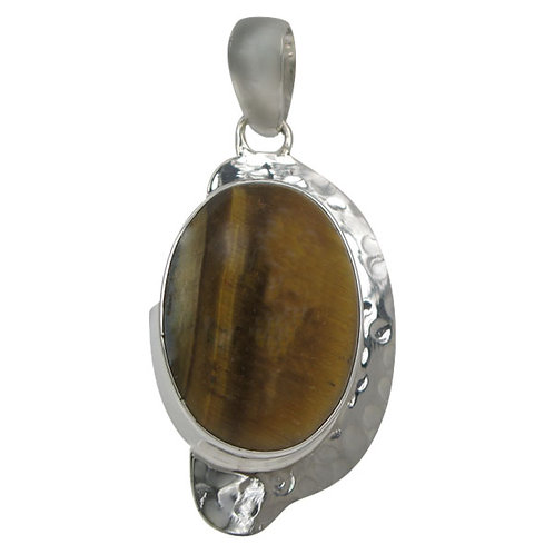 Sterling Silver Hammered Finish Oval with Tiger Eye Pendant