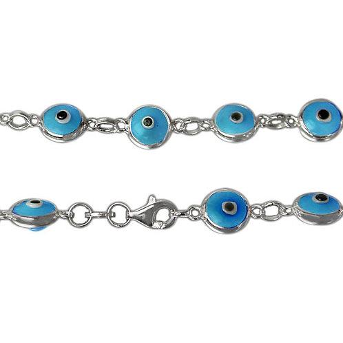 Sterling Silver With Glass Beads Evil Eye Bracelet