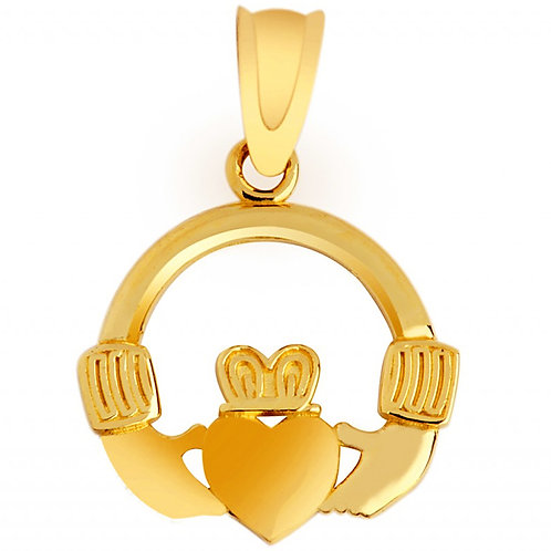 10K Yellow Gold Claddagh Pendant