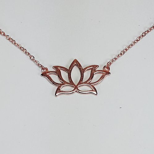 Rose Gold Plated Sterling Silver Lotus Pendant Necklace