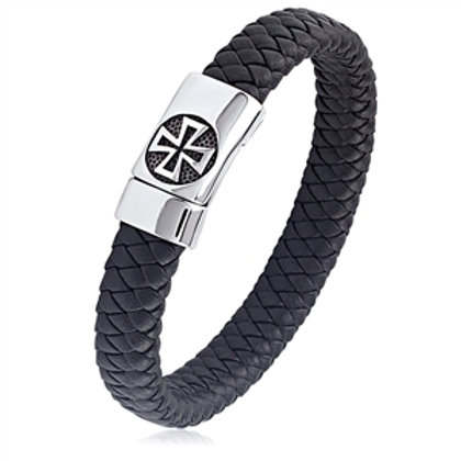 Stainless Steel Black Braided Leather Bracelet with Cross Buckle