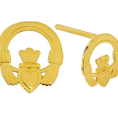 10K Yellow Gold Mini Claddagh Earrings