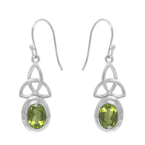Rhodium Plated Sterling Silver Trinity Knot design with Peridot Earrings