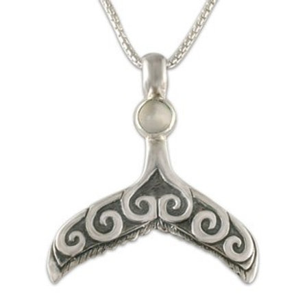 Sterling Silver Whale Tail with Moonstone Gemstone Pendant Necklace