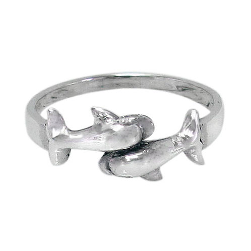 Sterling Silver Double Dolphin Ring (Size 7)