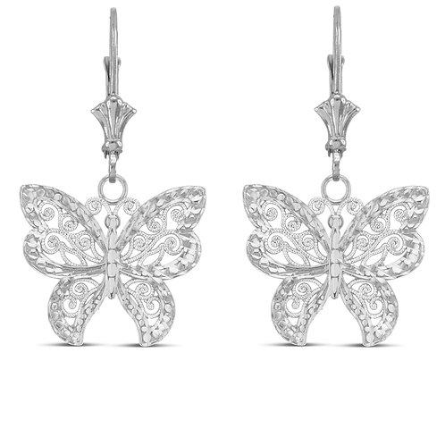 Sterling Silver Butterfly Designer Dangle Earrings