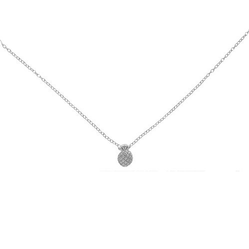 Rhodium Plated Sterling Silver Pineapple Pendant Necklace