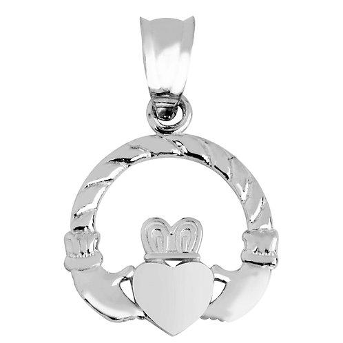 Rhodium Plated Sterling Silver Irish Claddagh Pendant