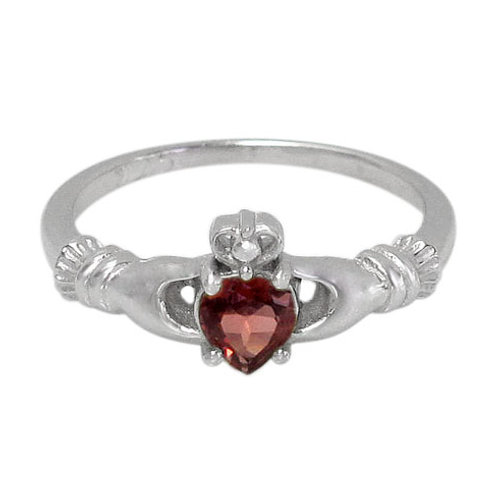 Rhodium Plated Sterling Silver Claddagh with Garnet Ring (Size 7)