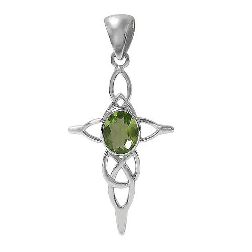 Rhodium Plated Sterling Silver Celtic Knot Cross Pendant with Peridot