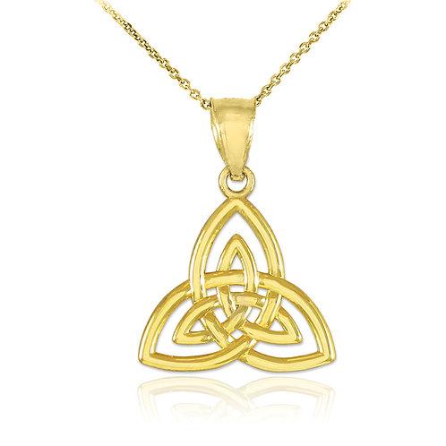 10K Yellow Gold Celtic Knot Charm Triquetra Pendant