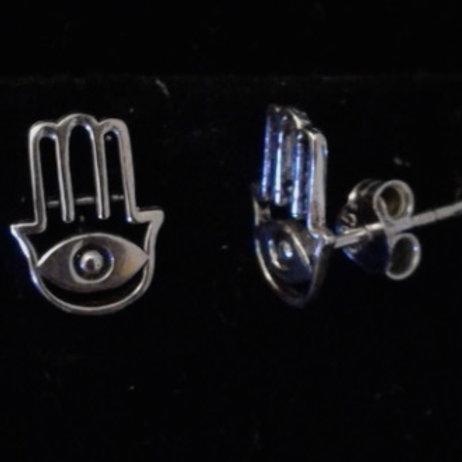 Rhodium Plated Sterling Silver Hamsa Hand Stud Earrings