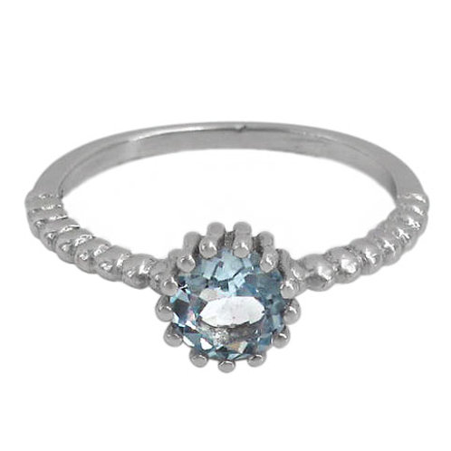 Rhodium Plated Sterling Silver with Blue Topaz Ring