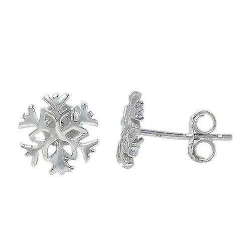 Rhodium Plated Sterling Silver Snowflake Earrings