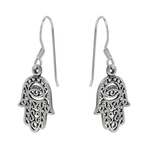 Sterling Silver Hamsa Hand Stud Earrings