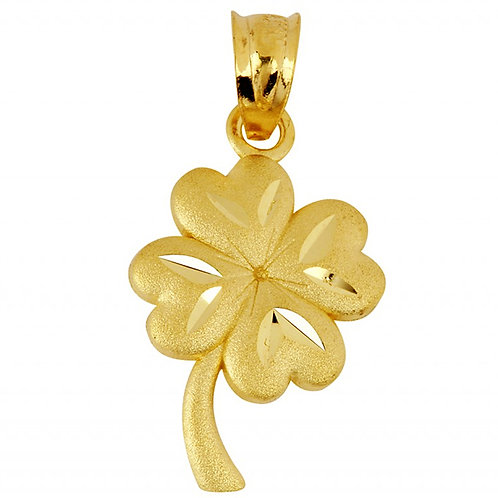 10K Yellow Gold Clover Leaf Gold Pendant