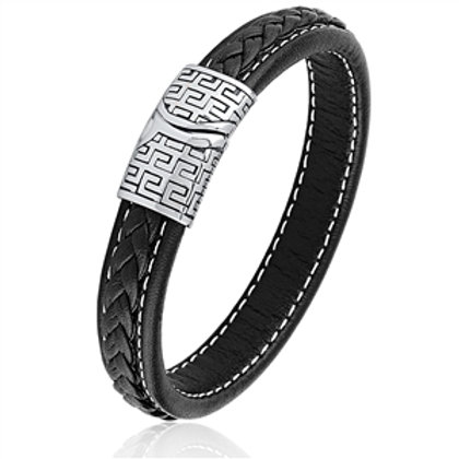 Stainless Steel Black Braided Leather Bracelet with Greek Key Buckle