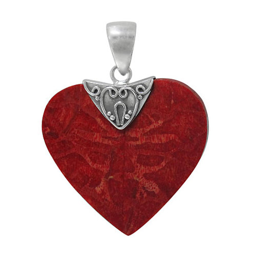 Sterling Silver Heart Shaped Pendant with Sponge Coral