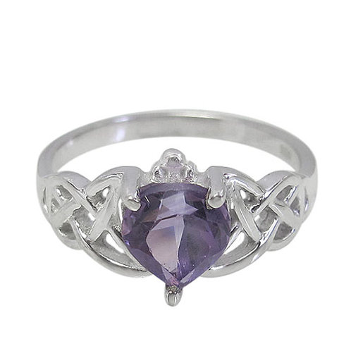 Rhodium Plated Sterling Silver Claddagh with Amethyst Ring (Size 6)