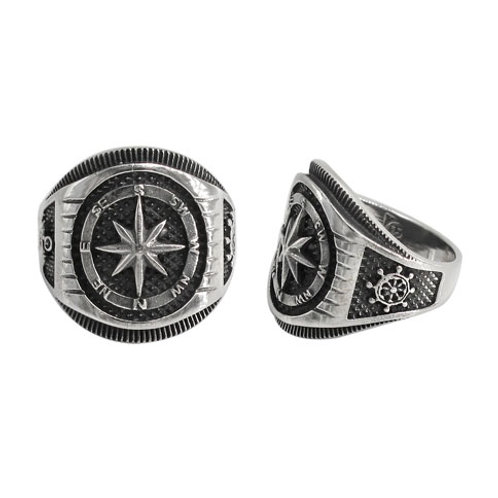 Sterling Silver Men's Nautical Compass Ring (Size 11)