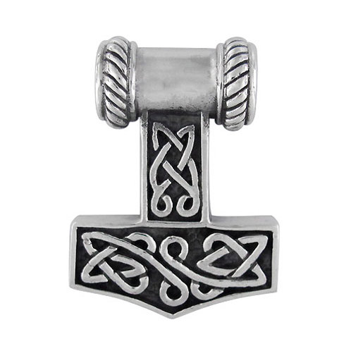 Sterling Silver Thor's Hammer with Celtic Knot Pendant