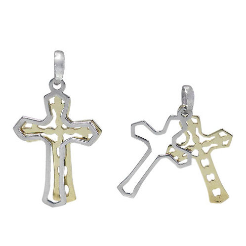 Sterling Silver with Gold Plating Cross Pendant