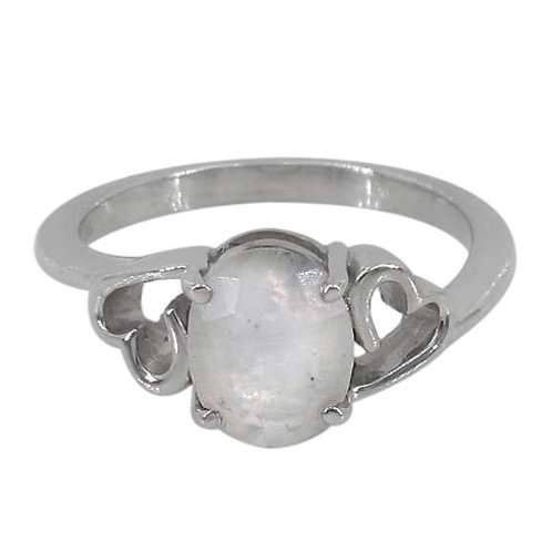 Rhodium Plated Sterling Silver Rainbow Moonstone with Hearts Ring