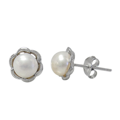Rhodium Plated Sterling Silver Flower with Fresh Water Pearl Stud Earrings