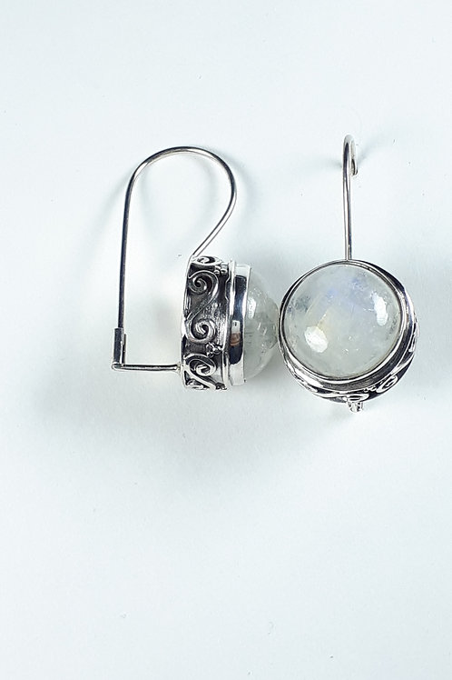 Sterling Silver with Round Moonstone Earrings