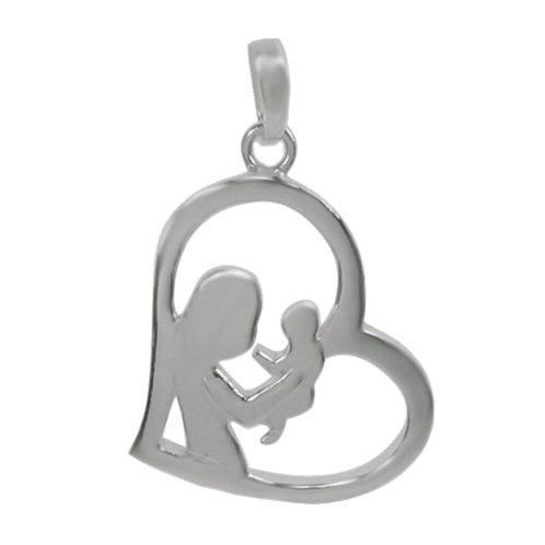 Sterling Silver heart shaped Mother and child Pendant