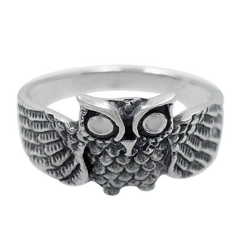 Sterling Silver Owl Ring (Size 7)
