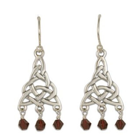 Sterling Silver Kalisi with Garnet Gemstone Drop Earrings
