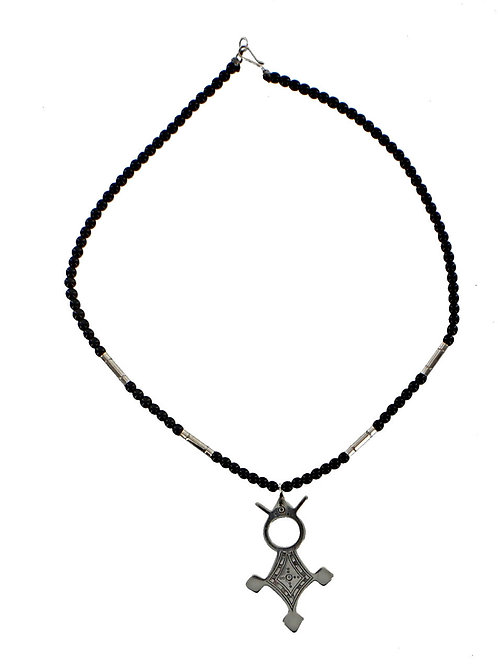 Fine Silver Tuareg Cross Pendant Necklace