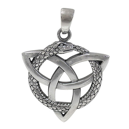 Sterling Silver Ouroboros with Triquetra Pendant