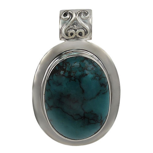 Sterling Silver Oval with Turquoise Pendant