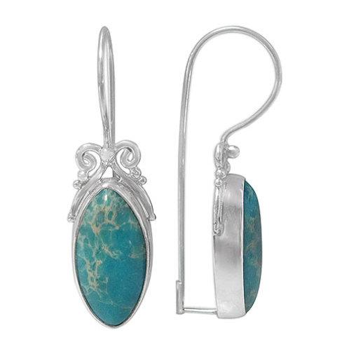 Sterling Silver Blue Imperial Jasper Earrings