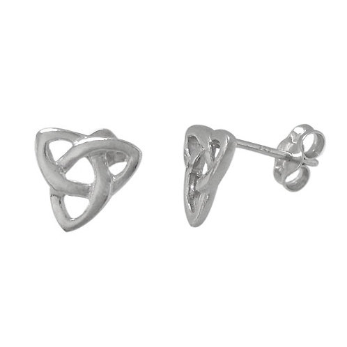 Rhodium Plated Sterling Silver Triquetra Stud Earrings