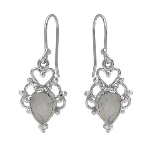 Rhodium Plated Sterling Silver Heart Detail Earrings with Moonstone Gemsto