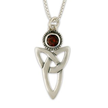 Sterling Silver Large Trinity with Garnet Gemstone Pendant Necklace