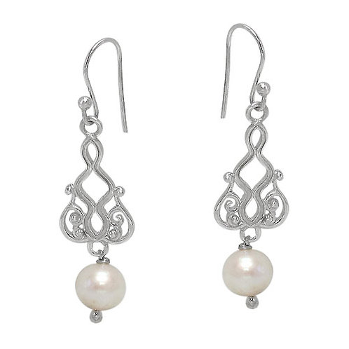 Rhodium Plated Sterling Silver Fresh Water Pearl Earrings