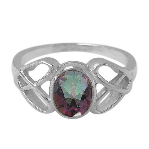 Rhodium Plated Sterling Silver Ring with Mystic Quartz
