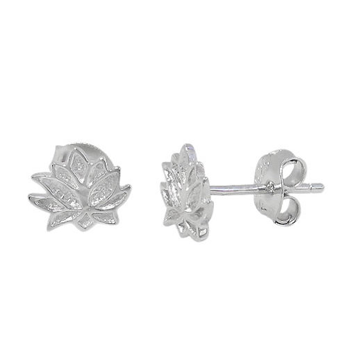 Rodium Plated Sterling Silver Lotus Stud Earrings