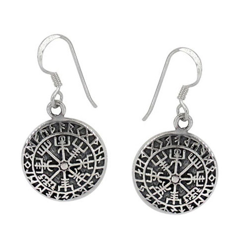 Sterling Silver Helm of Awe (Norse) Earrings