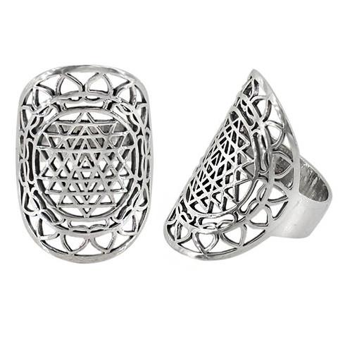 Sterling Silver Sri Yantra Ring