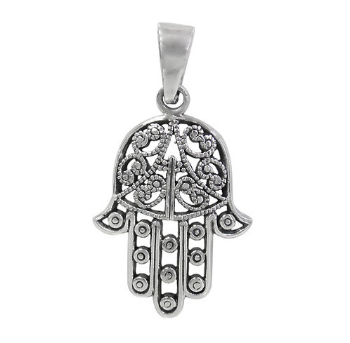 Sterling silver hamsa hand pendant symbolic meaning aloadofball Images