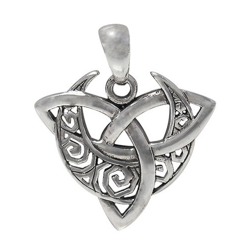 Sterling Silver Triquetra with Crescent Moon Pendant