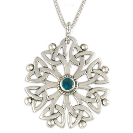 Sterling Silver Arbor with London Blue Topaz Gemstone Pendant Necklace