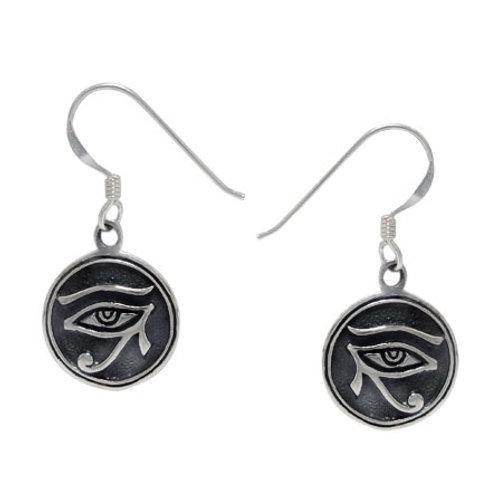 Sterling Silver Eye of Horus Earrings