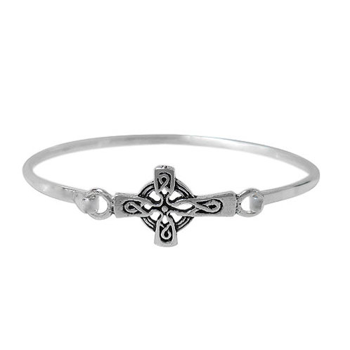 Sterling Silver Sideways Celtic Cross Bangle with hook closure