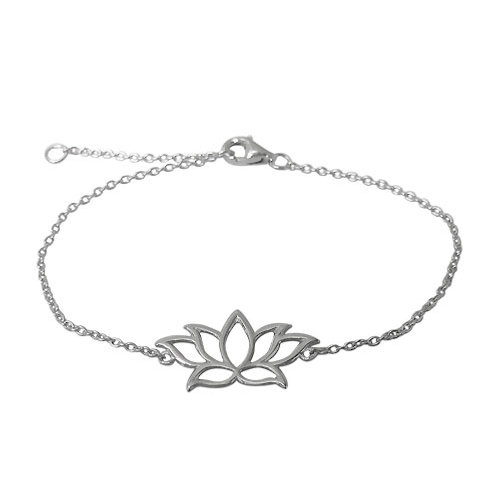 Rhodium Plated Sterling Silver Lotus Charm Bracelet